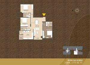 A104-A1804 3BHK-1775sqft Khushal garden