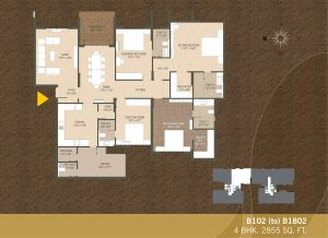 B102-B1802 4BHK-2855sqft Khushal garden